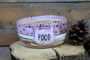 Pink cat bowl | personalized cat name | FREE SHIPPING