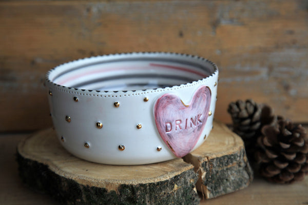 White dog bowl | personalized pet name | FREE SHIPPING