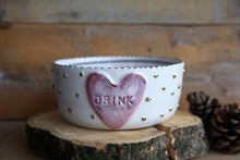 Load image into Gallery viewer, dog bowl ceramic white pink