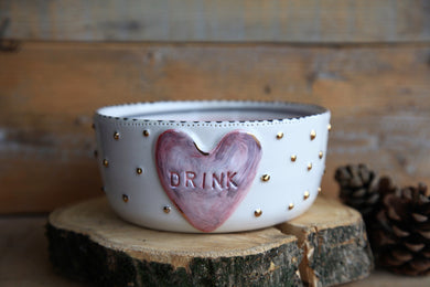 dog bowl ceramic white pink
