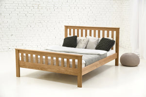 solid oak wood double bed