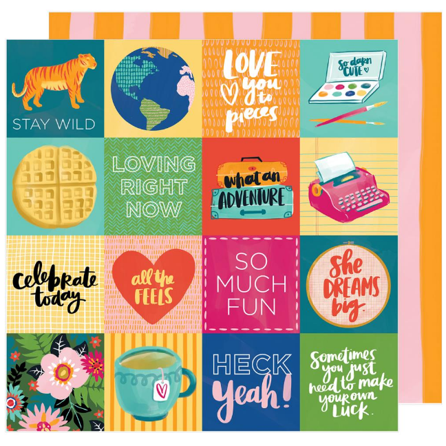 Papel doble cara 12x12 Hustle & Heart - Fit to Be Square