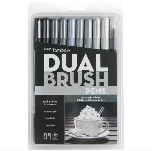 TOMBOW DUAL Set 10 colores escala de grises