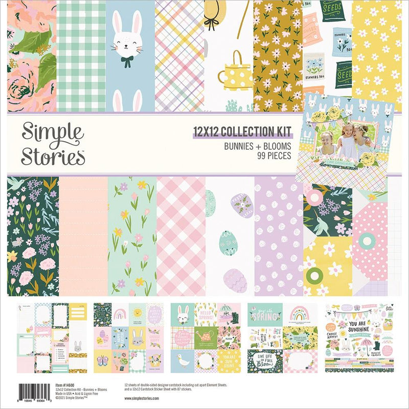 Kit papeles y stickers 12x12 pulgadas- Bunnies & Bloom