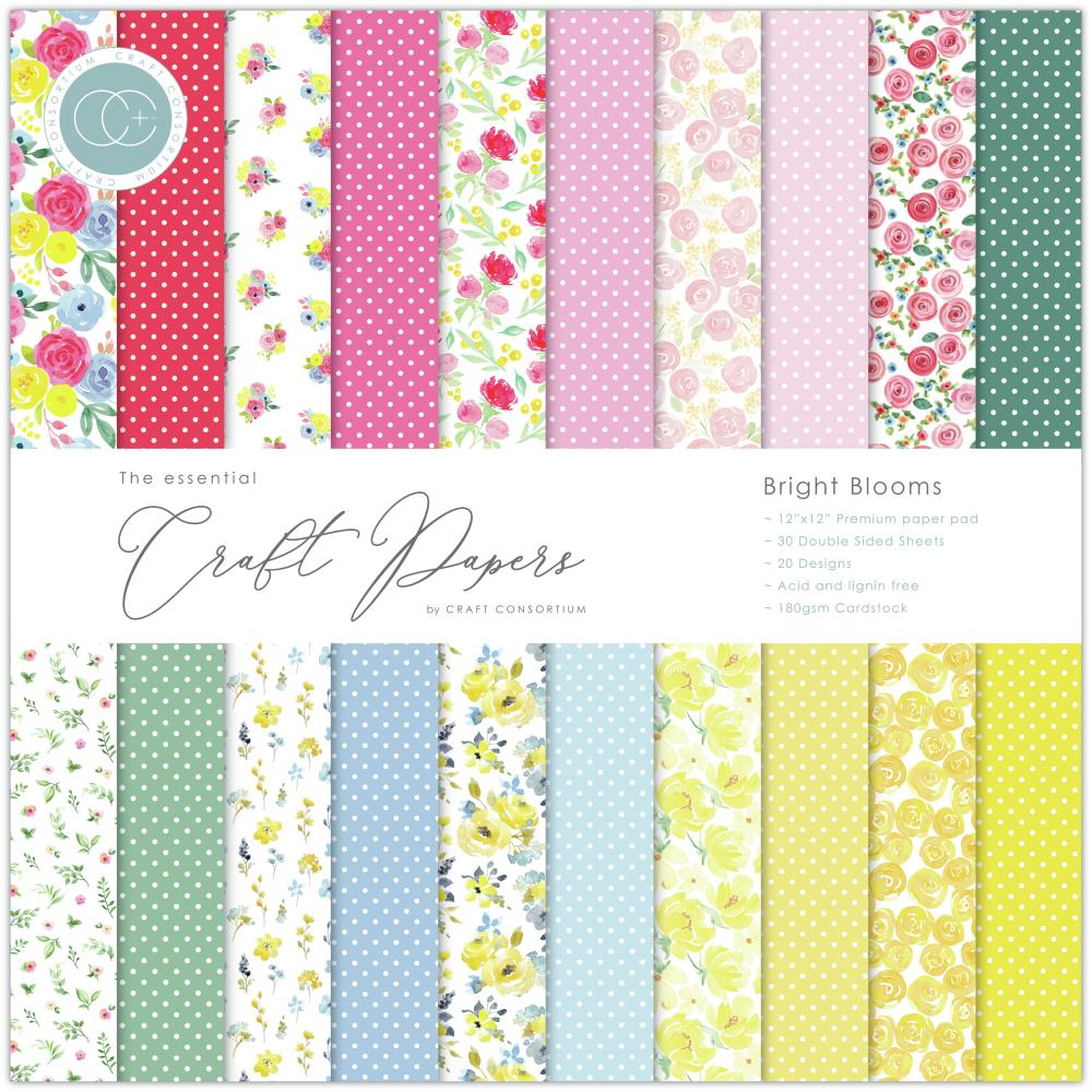 Stack de papeles 12x12 Craft consortium- Bright Blooms