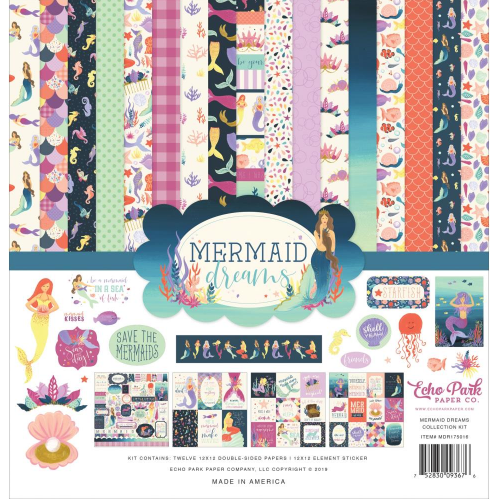 Kit papeles doble cara 12x12 Mermaid Dream