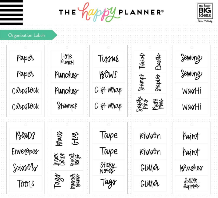 Etiquetas organizadoras Happy planner - Crafts room