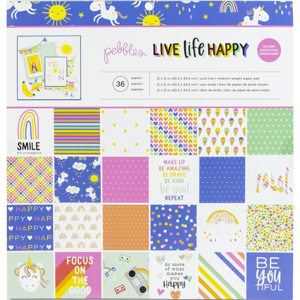Stack Papeles 12x12- Live life happy