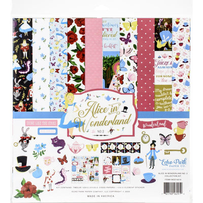 Kit papeles y stickers 12x12 pulgadas- Alice in wonderland