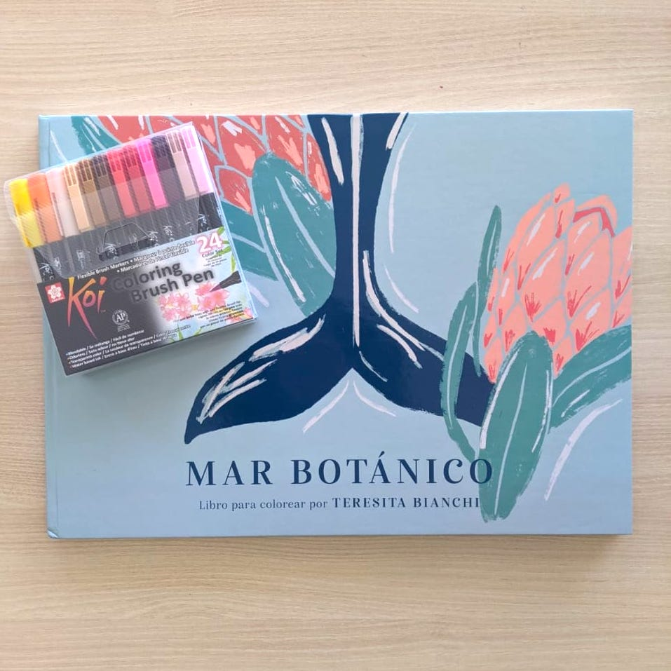 KIT Libro para colorear MAR BOTANICO + BRUSH 24