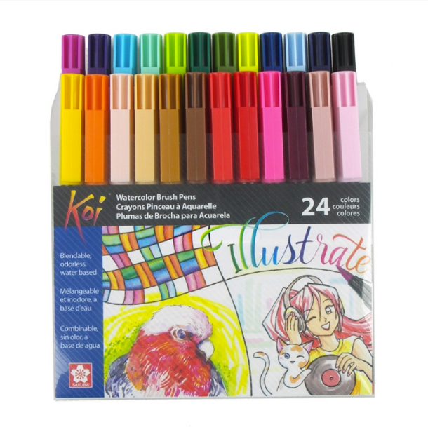 Set 24 Colores Plumón Acuarelable Koi Coloring Brush
