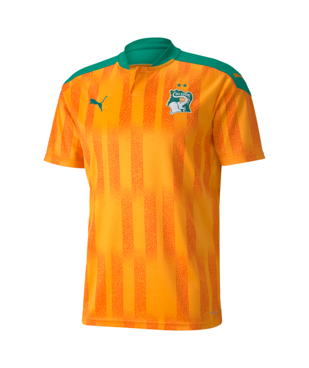 Puma Men's Ivory Coast Home Jersey 2020-21 FLAME ORANGE-PEPPER GREEN 75670701