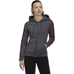 adidas Women's Essentials Fleece 3S Full Zip Hoodie DARK GREY HEATHER/POWER BERRY GD4324