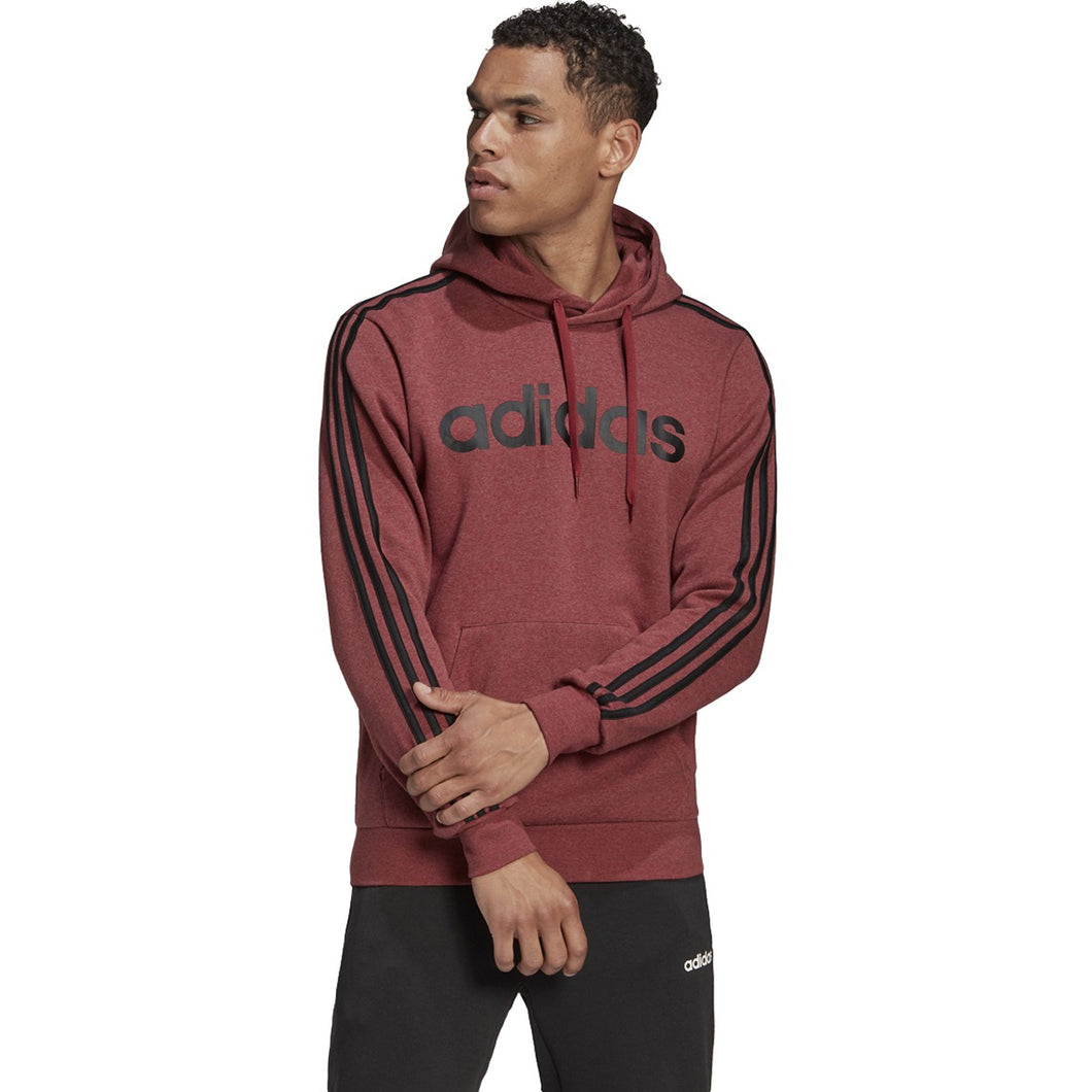 adidas Men's Essentials 3 Stripes Pullover Fleece LEGACY RED MEL/BLACK GD5375