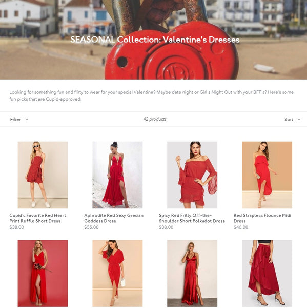 Beach Frills red dresses and red outfits for valentines