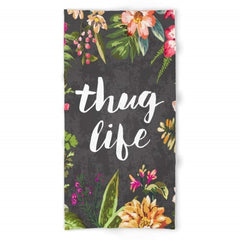 thug life beach towel with tropical print