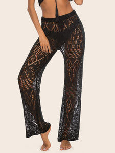 Black Crochet Knit Palazzo Swim Cover Up Boho Beach Pants