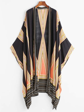 Tribal Bohemian Asymmetric Beach Kimono Cover Up