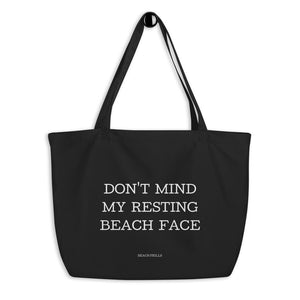 """RESTING BEACH FACE"" Large Organic Tote Bag"