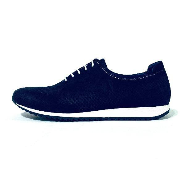 Blue Leathered Athletic Style Shoes