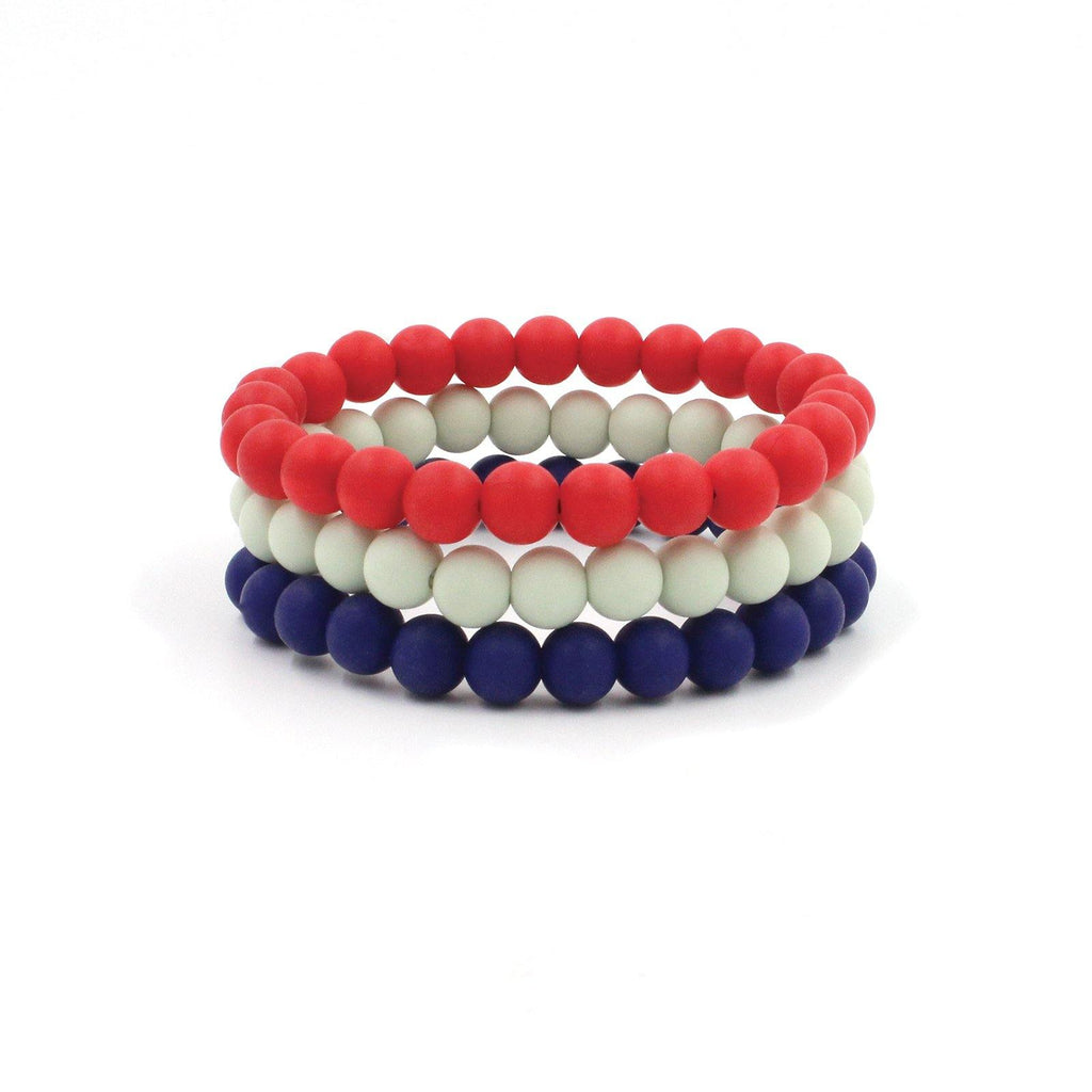 All American Set of 3 Silicon Rubber 9mm Beaded Bracelets