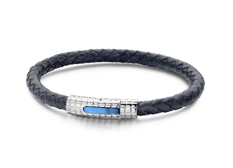 Men's Bracelet Leather Blue & Stainless Steel - The Gallant Way