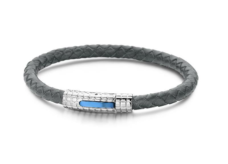 Men's Bracelet Leather Grey & Stainless  Steel - The Gallant Way