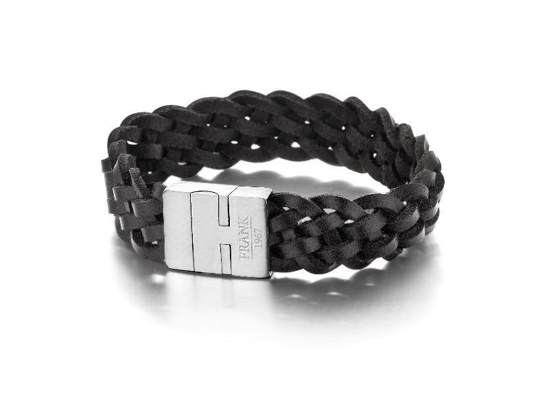 Men's Bracelet Braided Black Leather & Steel  - The Gallant Way