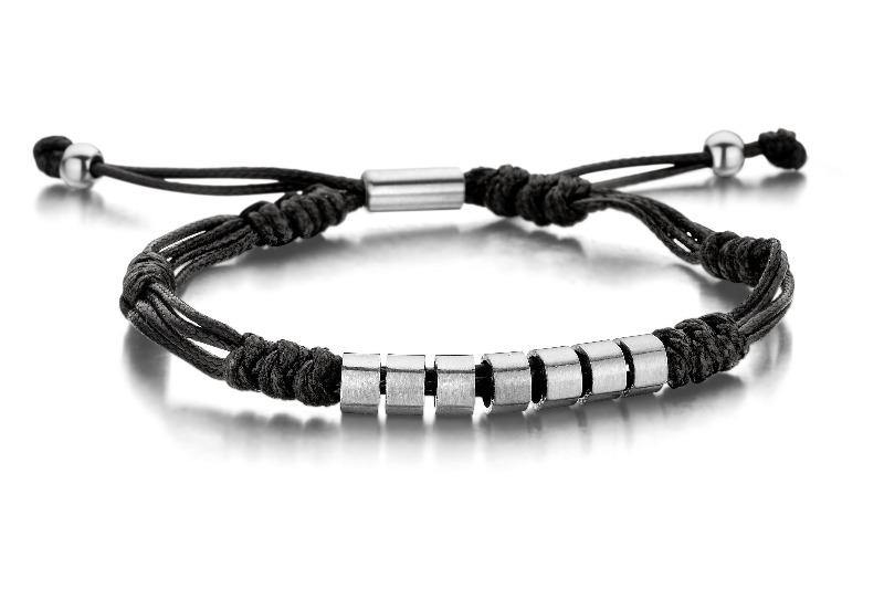 Men's Black Rope & Steel Bracelet  - The Gallant Way