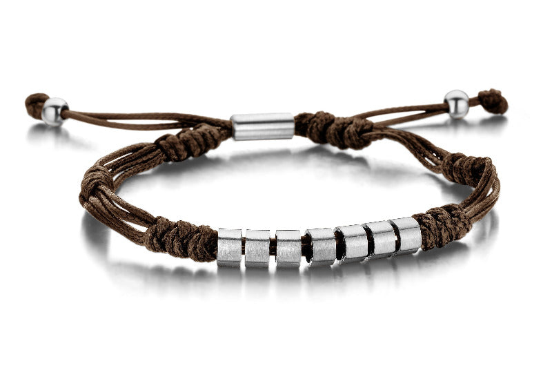 Men's Brown Rope & Steel Bracelet - The Gallant Way