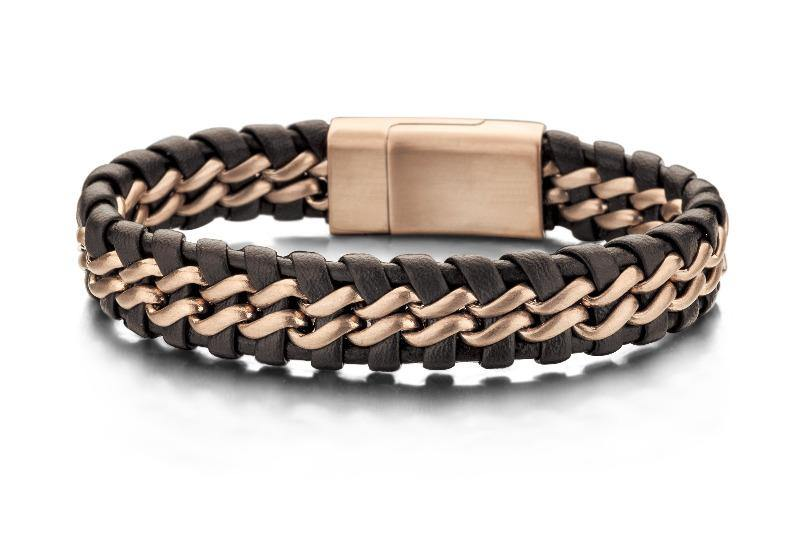 Men's Bracelet Stainless Steel & Brown Braided Leather - The Gallant Way
