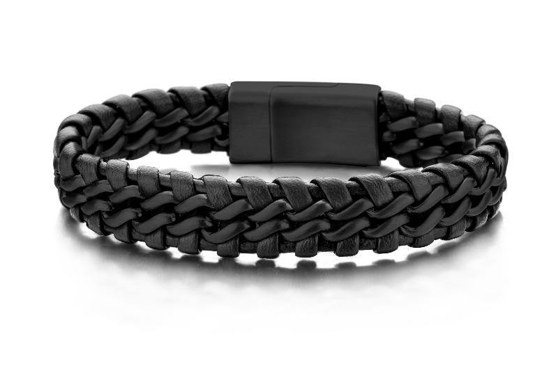 Men's Black Braided Leather & Steel -  The Gallant Way