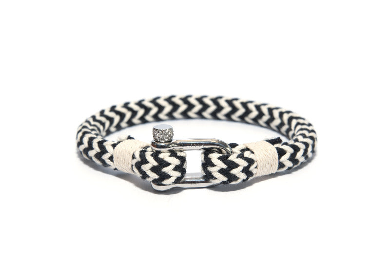 Mens Unique Nautical Bracelet White & Black -The Gallant Way