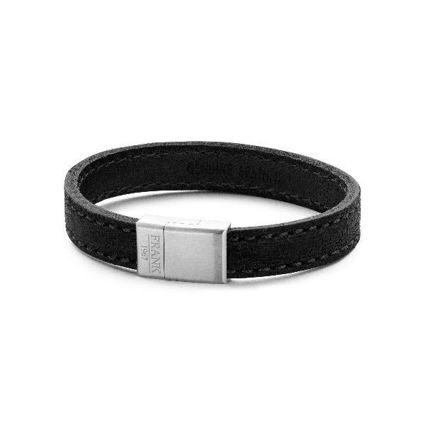 Men's Bracelet Leather Black Solid  & Steel  - The Gallant Way