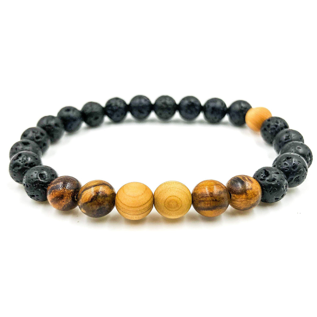 mens beaded lavarock  aromic golden sandalwood