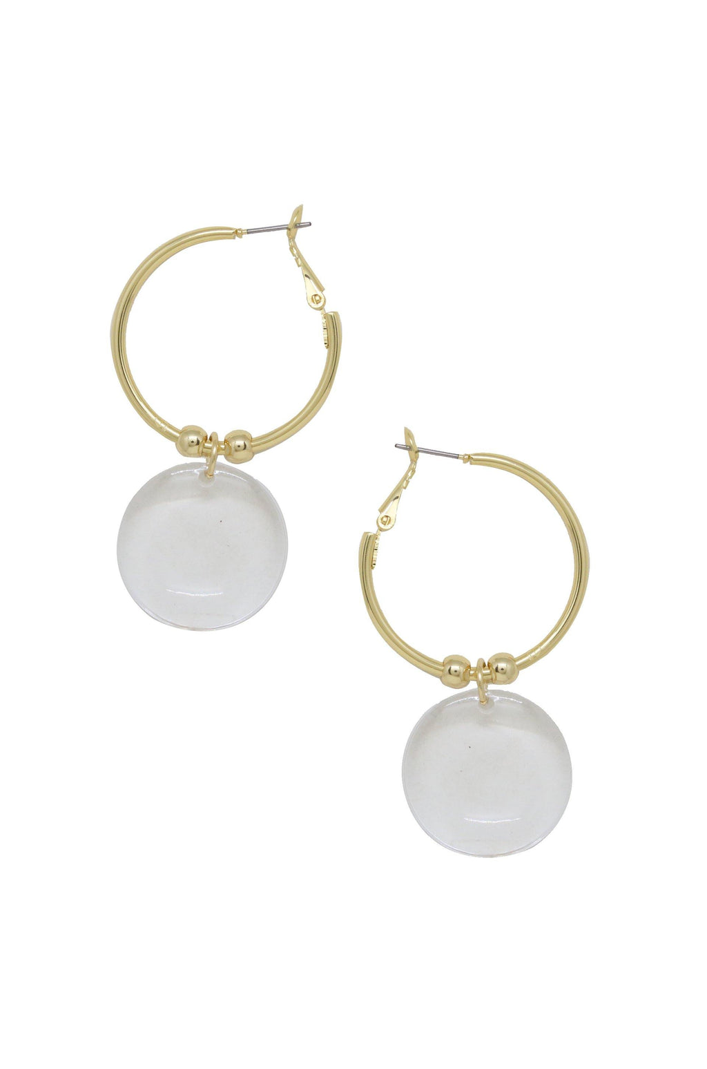 Clear Resin Circle Hoop 18k Gold Plated Earrings