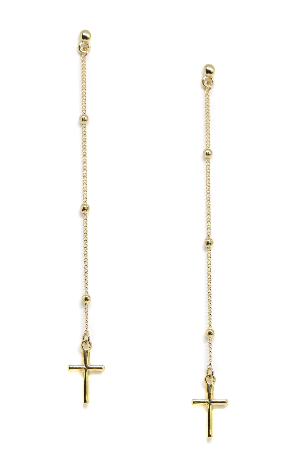 Chance and Faith 18k Gold Plated Dainty Cross Earrings