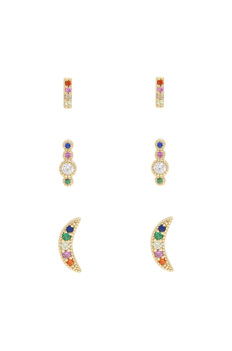 Celestial Rainbow Crystal & 18k Gold Plated Stud Set
