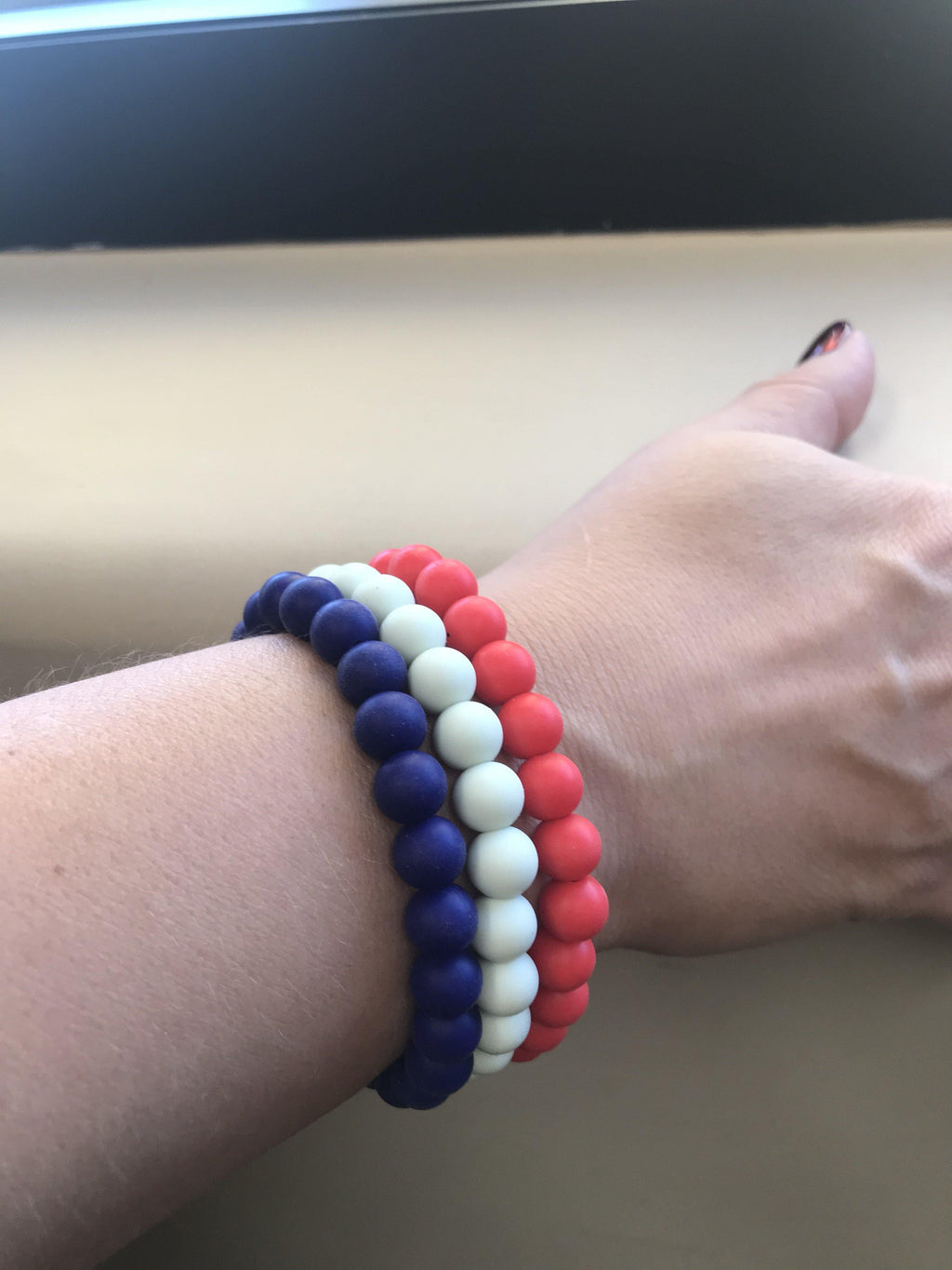 Navy Silicon rubber 9MM bead bracelets - The Gallant Way