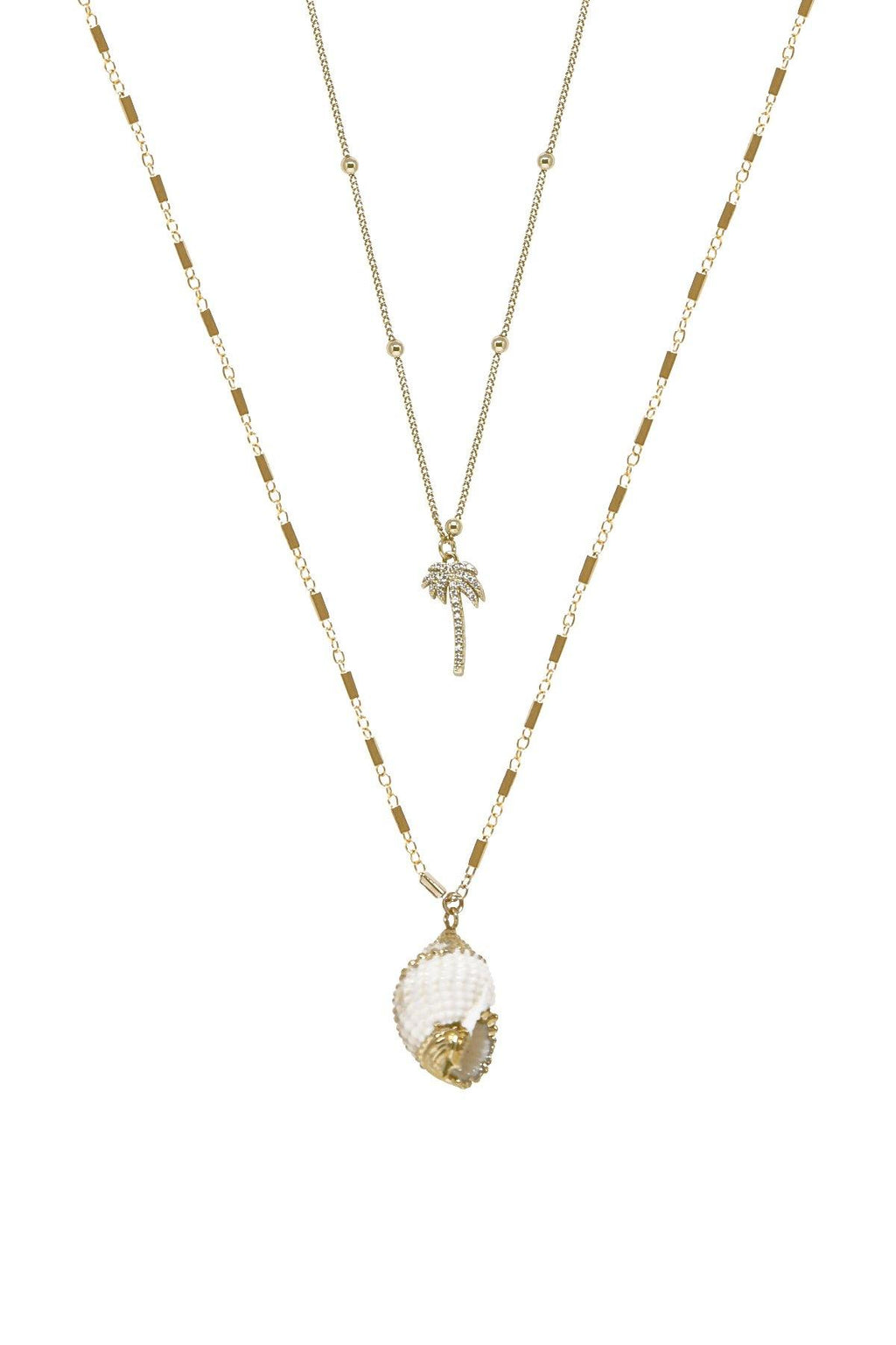 Beach Bum Shell 18k Gold Plated Necklace Set