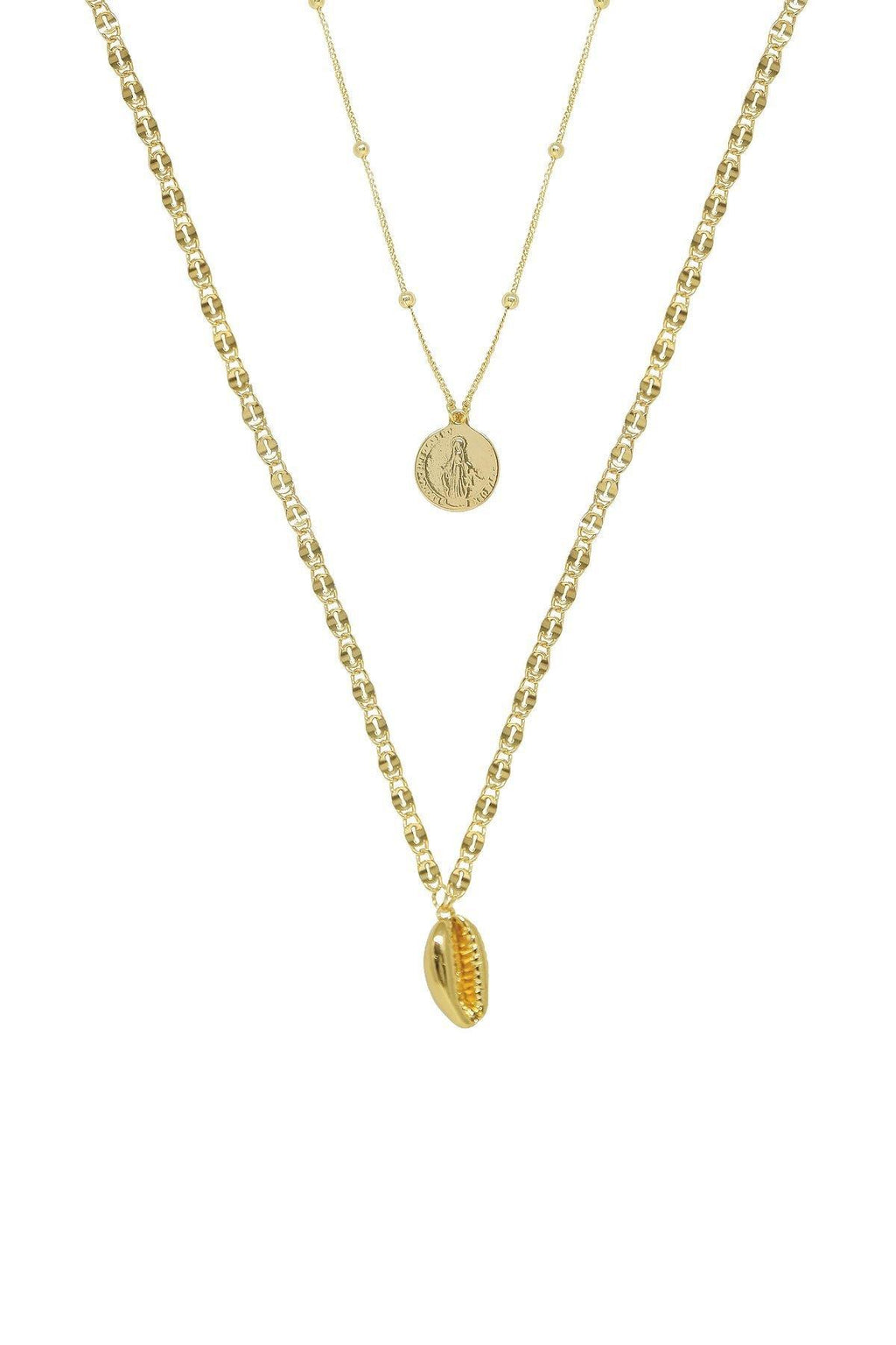 Coin and Cowrie Shell 18k Gold Plated Layered Necklace