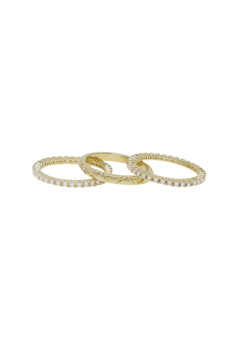 Crystal and 18k Gold Plated Band Ring Set of 3 - The Gallant Way