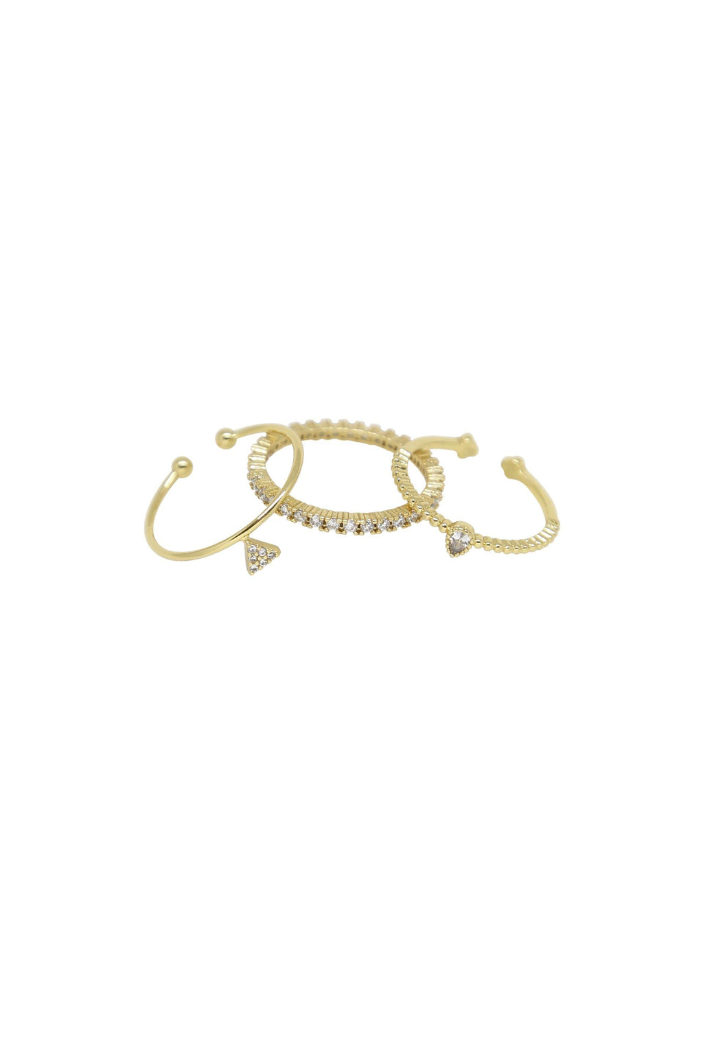 Crystal Triplets 18k Gold Plated Ring Set