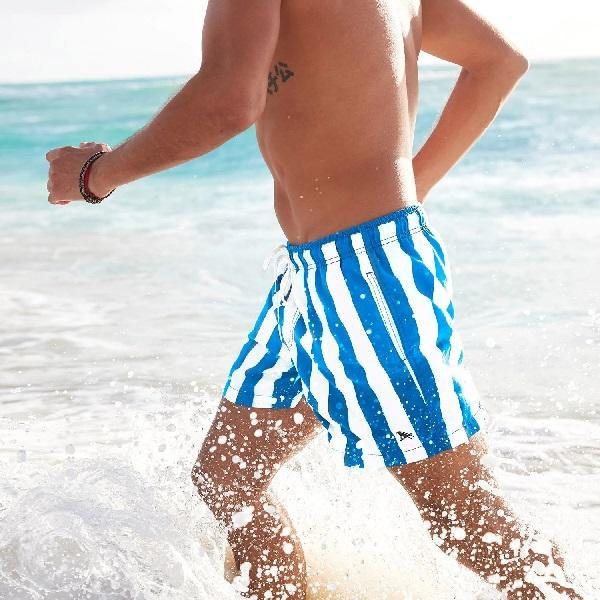 Swim Shorts Striped Blue Cabana2