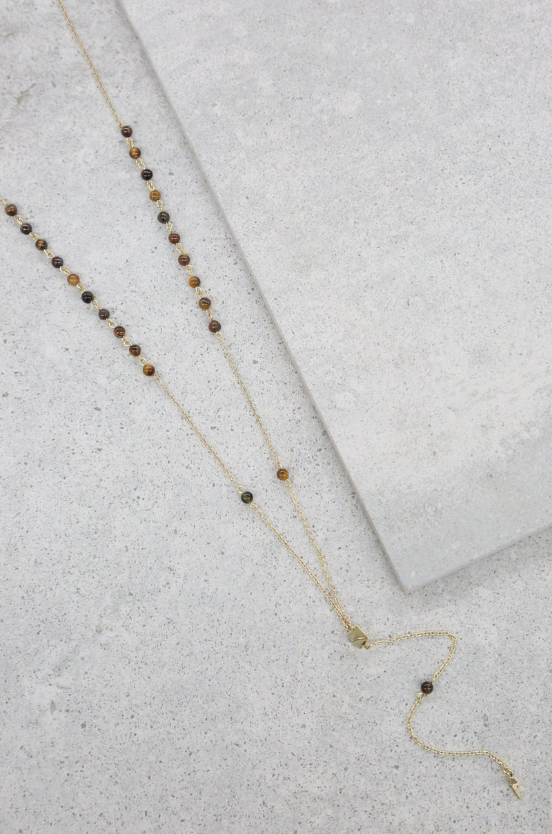 Angel Sigh 18k Gold Plated Lariat in Tiger's Eye