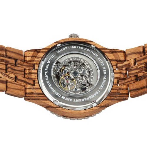 Men's Wood Watch Premium Zebra Self-Winding Transparent