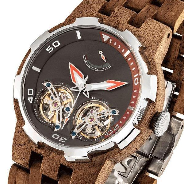 Men's Wood Watch Walnut Dual Wheel Automatic   5
