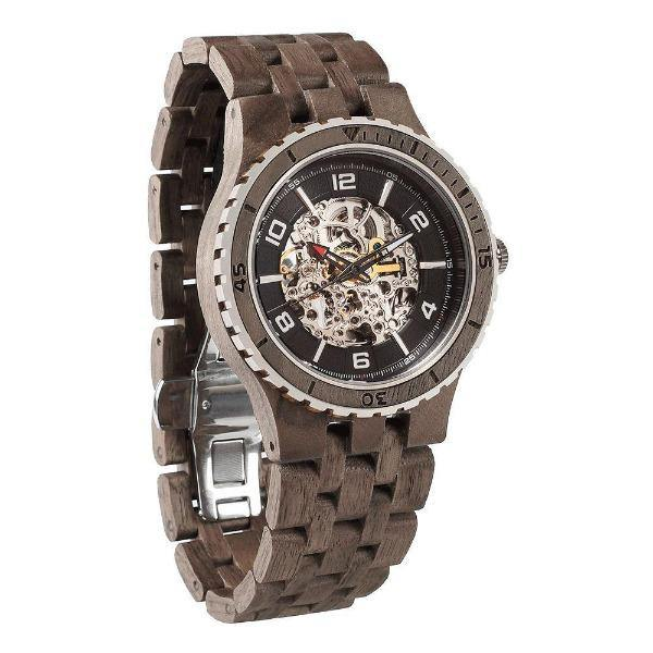 Men's Wood Watch Walnut Automatic Transparent Body