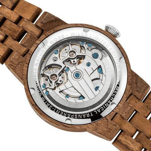 Men's Wood Watch Walnut Dual Wheel Automatic  3