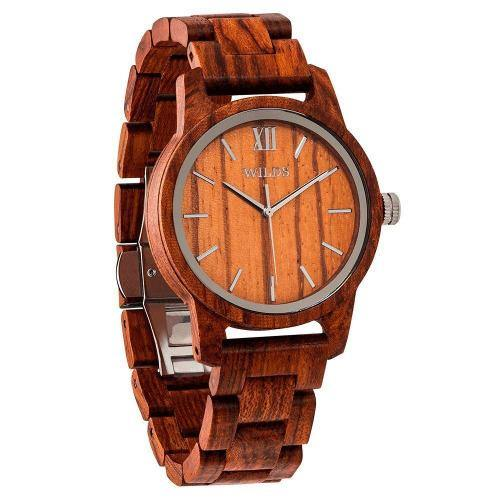 Men's Wood Watch Handmade Engraved Kosso